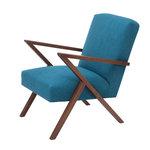 Meubelen-Online - Meubelen-Online - Fauteuil Retrostar stof turkoois vintage design
