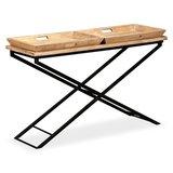 Sidetable 130x40x80 cm massief hout met dienbladen_