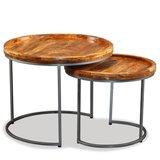 Meubelen-Online - Bijzettafels Modo set 2 tafels hout bruin