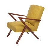 Meubelen-Online - Fauteuil Retrostar stof geel vintage design