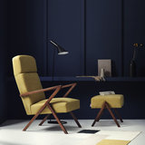 Meubelen-online - Fauteuil Retrostar highback stof geel vintage design