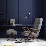 Meubelen-Online - Fauteuil Retrostar highback stof grijs vintage design