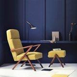 Meubelen-Online - Voetenbank Retrostar stof geel vintage design