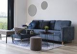 Rib bank met sofa Toscana ribstof blauw bij Meubelen-Online