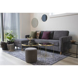 Meubelen-Online - Bank met sofa Toscana ribstof grijs