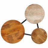Meubelen-Online - Salontafel Trio 89x77x52 cm massief mangohout en staal