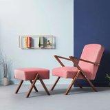 Sternzeit-design - Voetenbank Retrostar velvet roze vintage design