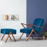 Sternzeit-design - Voetenbank Retrostar velvet blauw vintage design