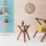 Sternzeit-design - Bijzettafel Retrostar hout met glas vintage