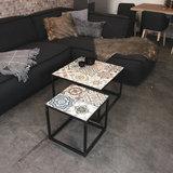Bijzettafel Ibiza 40x40cm metaal met keramiek_