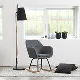 Meubelen-Online - Fauteuil Fancy schommelstoel stof donker grijs sfeer