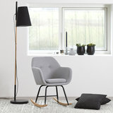 Meubelen-Online - Fauteuil Fancy schommelstoel stof licht grijs sfeer