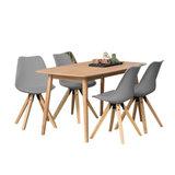 Eethoek Player grijs set tafel met vier stoelen_