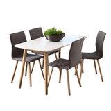 Eethoek Salvador grijs set tafel met vier stoelen_