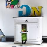 Nova solo Buffetkast Landhuis wit met zwart blad 2 deuren 1 lade sfeer
