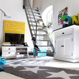 Nova solo TV-meubel Landhuis 120cm wit met zwart blad sfeer