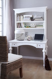 Bureau secretaire Cottage wit met open vakken en lades_