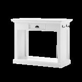 Nova solo - Eettafel Wittevilla wit hout met 2 krukken zijaanzicht
