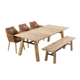 Pit-Art collectie Eethoek Woest 210cm met 3 stoelen TOP en zitbank hout