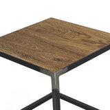 Bijzettafel Roger 40x40cm eiken hout met blacksmith detail