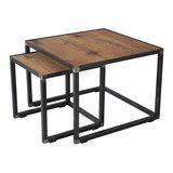 Bijzettafel Roger set 2 tafels eiken hout met blacksmith
