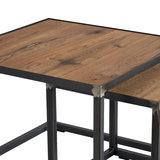 Bijzettafel Roger set 2 tafels eiken hout met blacksmith detail