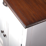 Buffetkast Studio wit 4 deuren 2 lades bruin blad detail