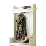 Kast Wittevilla wit hout met kapstok bankje en manden detail