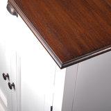 TV-meubel Studio 180cm wit hout met bruin blad detail