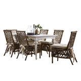 Nova solo - Eethoek Aristocrate tafel 180cm wit hout met 6 stoelen riet