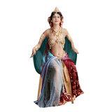 Eetkamerstoel Mata Hari blauw velours houten poten sfeer