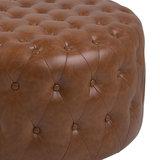 Poef Mata Hari vintage bruin voetenbank 80cm detail