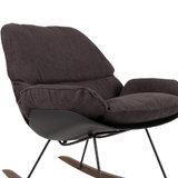 Schommelstoel Marva fauteuil antraciet stof detail