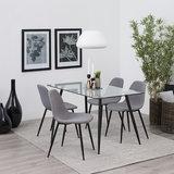 Meubelen-Online - complete eethoek Fred tafel glas met 4 stoelen grijs