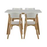 Meubelen-Online - Eethoek Basic rechthoekig compleet met 4 stoelen compact