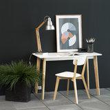 Meubelen-Online - Bureau Basic wit met houten poten sfeer