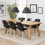 Meubelen-Online - Eethoek Wood eettafel 210cm met 6 stoelen