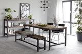 Meubelen-Online - Eettafel Vintage 90x180cm hout met metaal sfeer