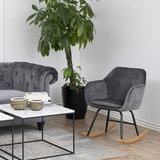 Meubelen-Online - Fauteuil Fancy schommelstoel stof grijs velours sfeer