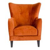 Meubelen-Online - Fauteuil Oxford velours oranje oorfauteuil vooraanzicht