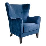Meubelen-Online - Fauteuil Oxford velours blauw oorfauteuil