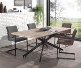 Meubelen-Online - Eethoek Timber tafel met vier armstoelen