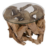 House Nordic - Salontafel Grand Canyon hout met glas bovenaanzicht