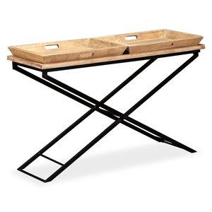Sidetable 130x40x80 cm massief hout met dienbladen