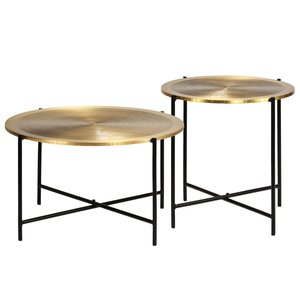 Salontafel Queen set 2 tafels zwart met goud