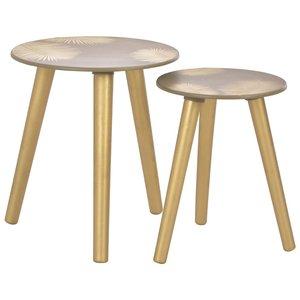 Bijzettafels Palm  40x45 cm/30x40 cm goud set 2 tafels