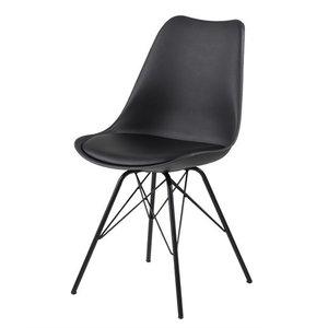 Meubelen-Online - Eetkamerstoel Plaisir set 4 stoelen zwart kuipstoel