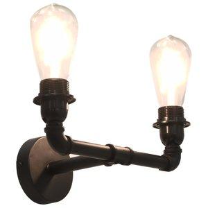 Meubelen-Online - Wandlamp Indus zwart voor 2 lampen 2xE27