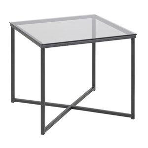Meubelen-Online - Bijzettafel Xandra 50x50x45 rookglas met zwarte poten
