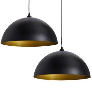 Meubelen-Online - Hanglampen Lyon set 2 zwart met goud